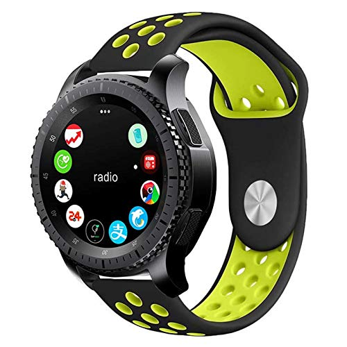 Pulseira 22mm Sport compatível com Samsung Galaxy Watch 3 45mm - Galaxy Watch 46mm - Gear S3 Frontier - Amazfit GTR 47mm - Amazfit GTR 2 - Marca LTIMPORTS (Preto com Amarelo)