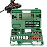 LXNQG Universal Aluminio para Pistolas de Rifle Pistolas Shotgun Gun Kit de Limpieza Cepillos con Funda de Madera (Color : Green)