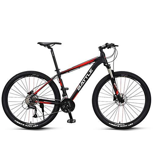 Xiaoyue 27,5-Zoll-Mountainbikes, Männer Hardtail Mountain Bikes, Doppelscheibenbremse Aluminiumrahmen-Gebirgsfahrrad, Verstellbarer Sitz, Rot, 30 Drehzahl lalay