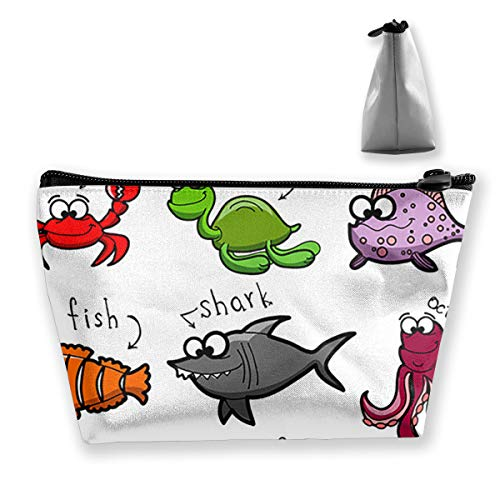 Aquarium Cartoon Octopus Dolphin Shark Whale Clown Fish Jellyfish Hermit Crab Makeup Organizer, Toiletry Pouch, for Brushes, Pencil Case