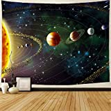 GEVES Planets Tapestry Outer Space Galaxy Universe Printed Large Tapestries Wall Hanging Mural for Bedroom Living Room Dorm Home Decoration 78.7ʺL × 59ʺH