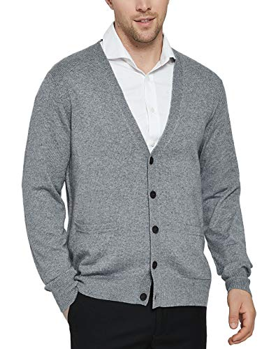 Kallspin Men's Cashmere Wool Blended Cardigan Sweater Relax Fit V-Neck Knitted Sweaters with Buttons & Pockets Light Gray X-Large