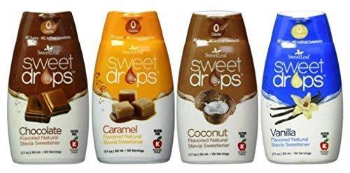 SweetLeaf Sweet Drops Flavored Stevia Sweetener 4 Flavor Variety Bundle, 1 Ea: Chocolate, Caramel, Coconut, Vanilla
