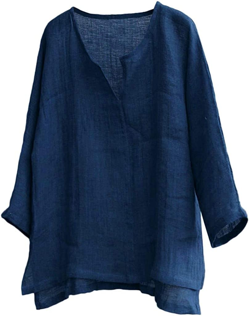 WUAI Unisex Mens Womens Summer Baggy Cotton Linen Henley Shirts Casual Loose Beach Yoga Tops Blouse Plus Size M-3XL