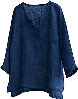 Burband Unisex Summer Baggy Cotton Linen Henley Shirts Casual Loose Beach Yoga Tops Blouse Plus Size M-3XL