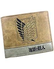 Attack on Titan Shingeki no Kyojin - Cartera de piel sintética con doble pliegue, color beige