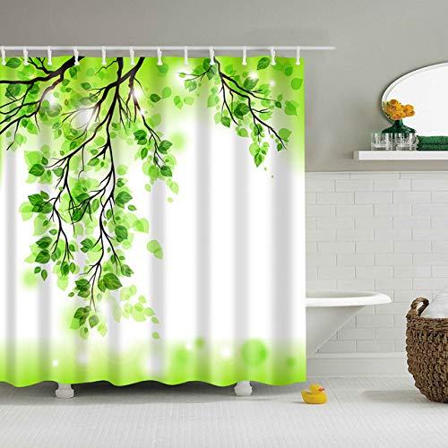 Waterdicht polyester 3D 180 * 200cm badgordijn bos voor badkamer gordijn Groene plant strand lang douchegordijn, S, 180x200cm