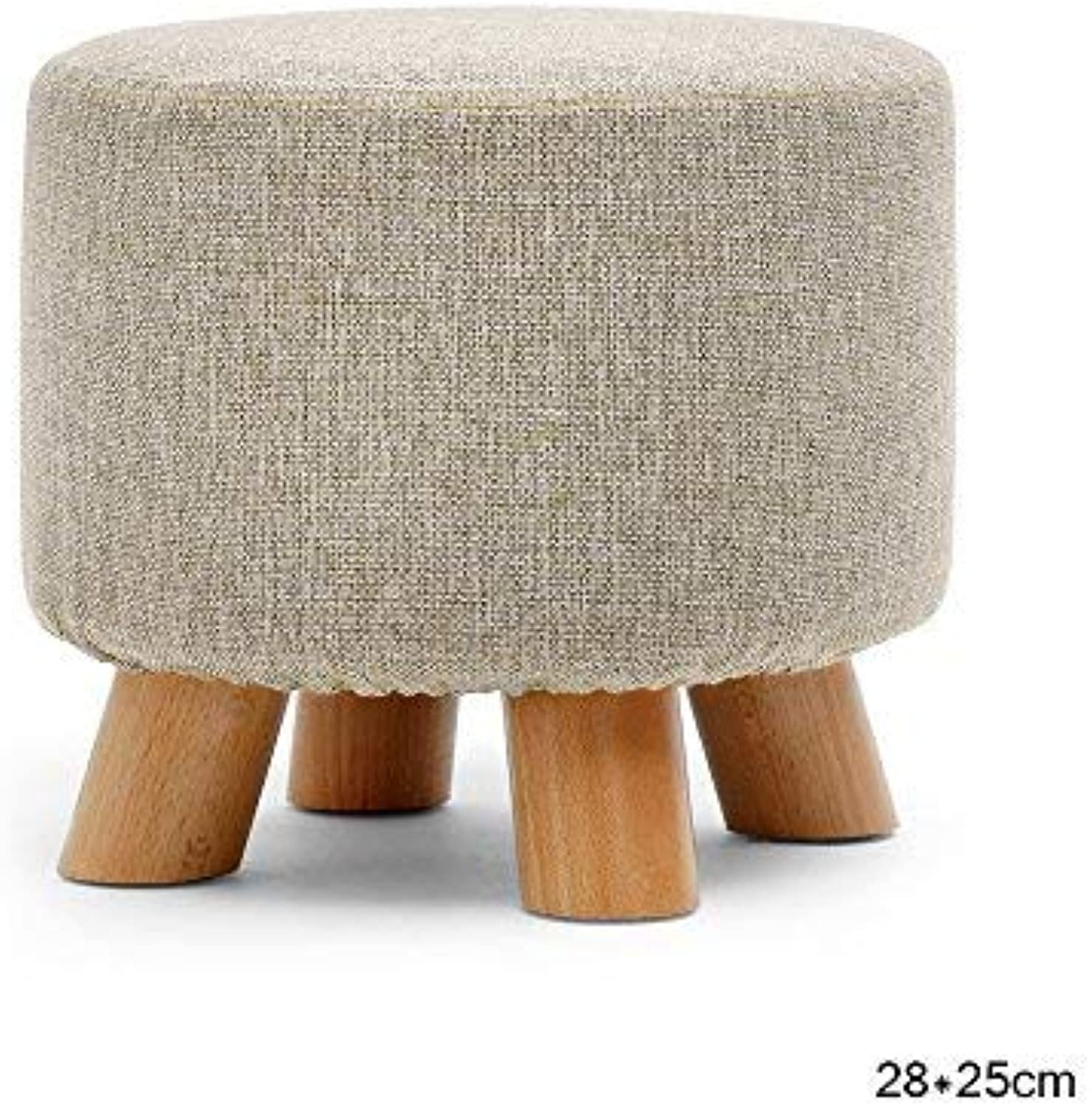 DEED Chair Stool - Round Upholstered Footstools Wood Legs Chair Linen Fabric Cover Adult Home Stool