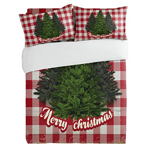 SUN-Shine 3 Pieces Bedding Duvet Cover Set, Farm Fresh Christmas Tree Super Soft Bedspreads Lightweight Quilt Covers and Pillowcases for Kids,Teens,Adults, Red Buffalo Checked