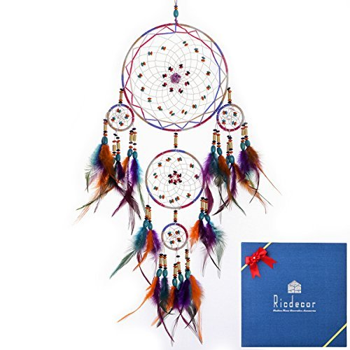 Ricdecor Handmade Indian Peacock Feathers Dream Catcher Wall Hanging Car Hanging Decoration Ornament 23.6 Inch Long (Colorful)
