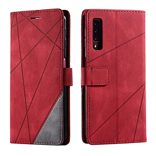 Hülle für Samsung Galaxy A7 2018, SONWO Premium Leder PU Handyhülle Flip Case Wallet Silikon Bumper Schutzhülle Klapphülle für Galaxy A7 2018, Rot
