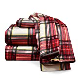 Clara Clark 100-Percent Egyptian Cotton Flannel 4-Piece Bed Sheet Set Luxurious Soft Hypoallergenic, King, Red Plaid