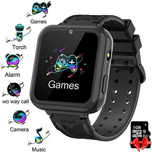 Orologio Smart Phone da Gioco per Studenti Bambino, Ragazzi e Ragazze Orologio Touch Screen ad Alta Definizione da torcia elettrica Circa Sveglia per Lettore MP3 per Bambini da 3-12 anni regalo,black