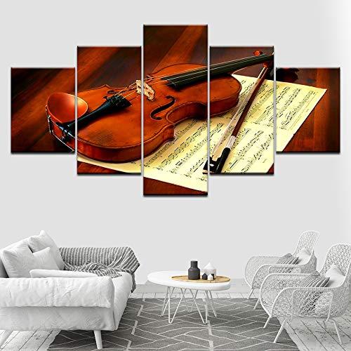 Impresión de Lienzo - 5 Pieza - Violín y partituras 150x80cm - Moderna FondoPintura de la Pintura de la Pared La impresión de la Imagen en la Lona Art Fotos de la Obra Obra de Arte para la Decoración
