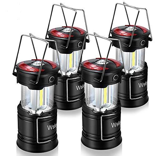 Wsky LED linterna de camping – linterna LED recargable – alto lúmenes, recargable, 4 modos, luz resistente al agua – camping, al aire libre, linternas de emergencia (1 batería integrada) 4 unidades