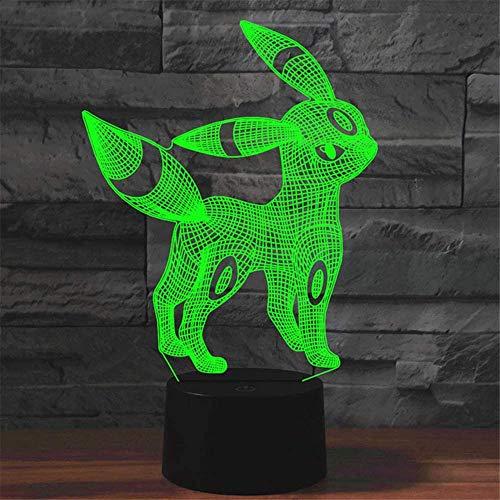 Umbreon - Lámpara de ilusión 3D, regalo de luz nocturna, con 16 cambios de color y control remoto, regalos para niños a partir de 3 4 5 6 años
