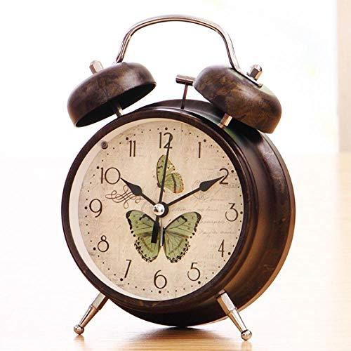 FPRW Retro wekker, ouderwetse mechanische nostalgische klok, creatieve persoonlijkheid grote ringtone luie nachtkastje, voor diepe slaap, twee vlinders