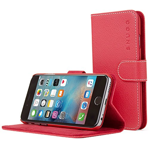 Snugg iPhone 6 / 6S Wallet Case – Leather Card Case Wallet with Handy Stand Feature – Legacy Series Flip Phone Case Cover in Red