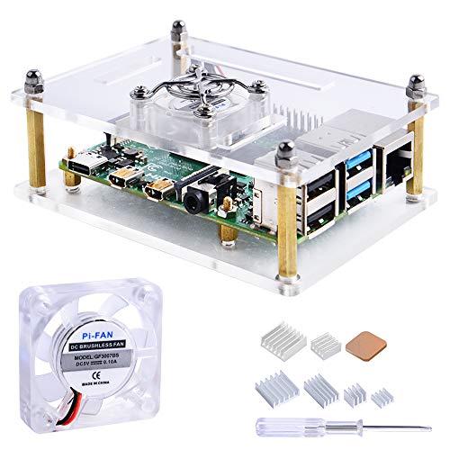 GeeekPi Acryl Gehäuse für Raspberry Pi 4 Model B & Raspberry Pi 3 Model B +, Raspberry Pi Hülle mit Lüfter für Raspberry Pi 3/2 Model B/B + (Klar)