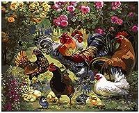 大人と子供のための番号デジタルキットによるDiyペイント、花の家禽の鶏、ブラシと家の装飾のためのアクリル絵の具で油絵