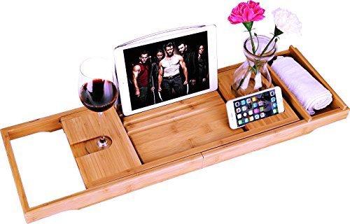 bamboe Badkuip Caddy Bad Tub Tray met Verlengde pagina 's opgericht in boek tablet-houder mobiele telefoon Tray & geïntegreerde Wijnglas-houder en andere accessoires plaatsing