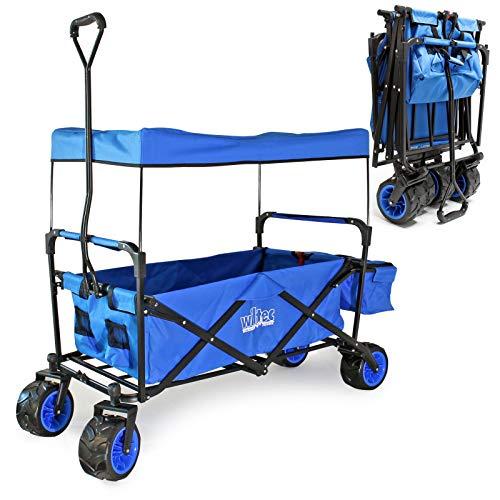 Carrito plegable de mano con capota Amplia superficie de carga Carro transporte Carrito de jardín