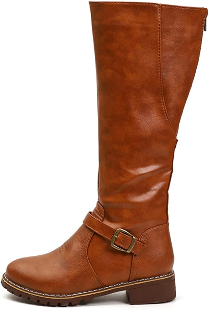 SO SIMPOK Women Sexy Buckle Riding Knee High Boots Zipper Motorcycle Chunky Heel Combat Boots