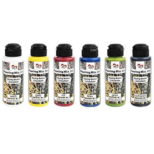 Juego de pinturas acrílicas de Pouring, 6 colores, 120 ml cada uno, medio ya integrado en pinturas acrílicas, no requiere mezcla con fluido, medio o aceite de silicona (mezcla de colores 1)