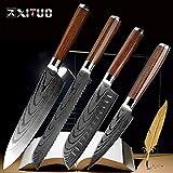 Mrjg Arcos 8'Pulgadas Cuchillo Cocinero 7' Cuchillo japonés Santoku congelado Cuchillo de Pan serrado 3.5' Utilidad de la Herramienta de pelado de Nueva Antiadherente Cuchillos de Madera Chino