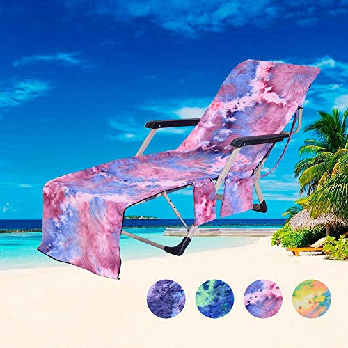 Purple ALLOMN Lounge Chair Towel Beach Towel Microfiber Pool Lounge Chair Cover Lawn Chair Cover Patio Chair Cover with Pockets Holidays Sunbathing Quick Drying Towels 75x210 cm