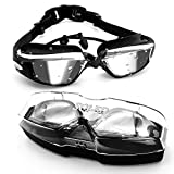 soled Swim Goggles, Swimming Goggles, Professional Goggles No Leaking Anti Fog 3D Ultra-Soft Silicone Seals UV Protection Waterproof, for Men Women Adult Youth Kids Child, with Silicone Ear Plug
