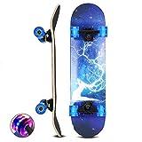 DFWYG Skateboard 31 x 8 Pulgadas 7 Capas Longboards de Madera de Arce con Ruedas con Luz LED, Tabla de Skate Cruiser Completa Profesional para Adolescentes, Adultos, Niños,Elk