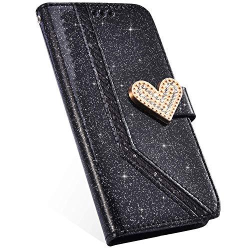 Compatible con Funda Samsung Galaxy J3 2018 Carcasa 3D Diamante Brillante Glitter Billetera Cuero PU Cover Case Bumper Libro Folio Flip Soporte Plegable Protectora Cartera Magnético Caso,Negro