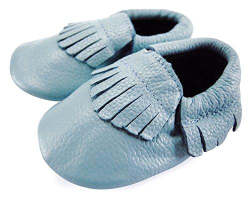 axy , Chaussures souple pour bébé (garçon) Blanc bleu 0-6 mois