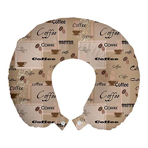 ABAKUHAUS caffè Cuscino da Viaggio, I chicchi di caffè Tipografia, Accessorio in Schiuma di Memoria per Viaggio, 30 cm x 30 cm, Marrone chiaro Nero