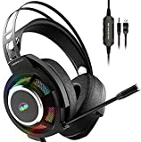 Monster Gaming Headset, Over-Ear Gaming Headphone with Noise Cancelling Mic, 7.1 Surround Sound Stereo, Adaptive Suspension Head Beam, Colorful RGB Light, Compatible with PC/Mac/PS4/Xbox One-(Black)