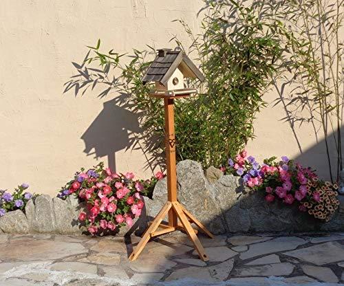 Vogelhaus + XXL-FUTTERSILO,mit Ständer,K-VOWA3-MS-at001 NEU PREMIUM-Qualität,Vogelhaus,mit Ständer KLASSIK-PREMIUM-Qualität,Vogelhaus,1,5 L Silo+ SICHTSCHEIBE RUND / GLAS, FUTTERVORRAT-SILO - VOGELFUTTERHAUS , Qualität Schreinerware 100% Massivholz - VOGELFUTTERHAUS MIT FUTTERSCHACHT-Futtersilo Futterstation Farbe schwarz lasiert, anthrazit / Holz natur, Ausführung Naturholz MIT TIEFEM WETTERSCHUTZ-DACH für trockenes Futter, mit Futterschacht zum Nachfüllen oben