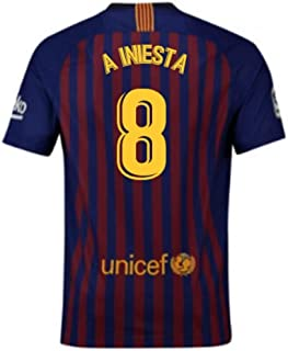 0c5451bd48a96 2018-2019 Barcelona Home Nike Football Soccer T-Shirt Jersey (Andres Iniesta  8