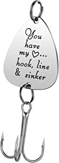 JanToDec Jewelry You Have My Heart. Hook, Line & Sinker Fishing Lure Fisherman Gift for Him Husband Boyfriend Birthday Christmas Valentines's Day