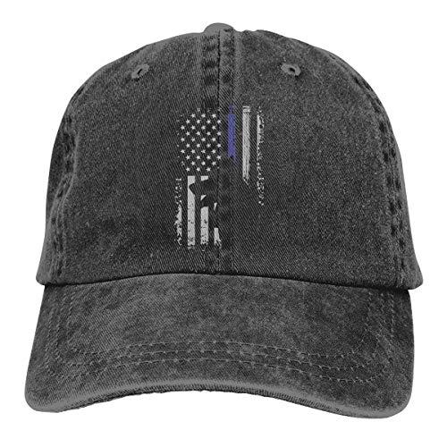 SFT Unisex Thin Blue Line Flag K9 German Shepherd Police Dog Dyed Washed Denim Cotton Baseball Cap Hat Black