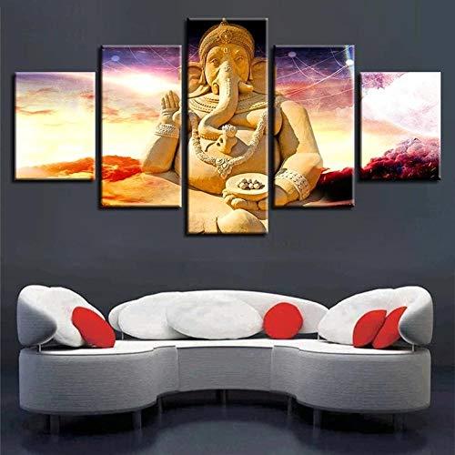 BHJIO Impresiones sobre Lienzo 5 Cuadros En Lienzo Modernos Dormitorios Murales Pared Lona XXL Grande Hogar Cuadros Decora Salón Piezas Señor Ganesha