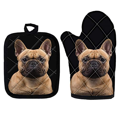 UZZUHI Pot Holders and Oven Mitts Cute French Bulldog Printed, Heat Resistant & Heavy Duty Cooking Kitchen Oven Mitts, Potholder, Heat Insulation Gloves and Mat Set of 2 for Women and Men
