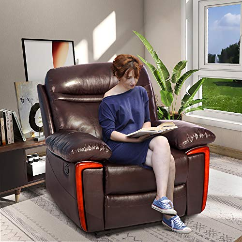 Merax Massage Recliner PU Leather Lounge with Heat and Massage Vibrating Sofa Chair (Brown)