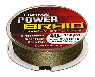 Ultima E1116 Power Braid Super Strong Micro Braid Fishing Line - Moss Green, 0.15 mm - 40 lb by Ultima