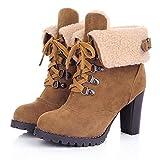 Botines Mujer Tacon Alto, JiaMeng Botas Zapatos de tacón Alto con Cordones y Cordones Zapatos Botines de Ocio Botas de tacón Alto(Amarillo,EU36)
