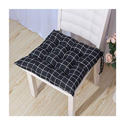 JLWM Chair Pad Cotton Linen Thicken Seat Cushion Geometry Solid Color Plant Flowers Seat Pad Chair Cushion with Straps Square Office Floor Kitchen-D-45x45cm