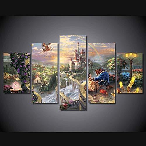 KAIASH 5 Impresiones de Impresiones de imágenes Panel Impresiones HD La Bella y la Bestia del Castillo de Dibujos Animados Pared decoración del artísticos para Interiores