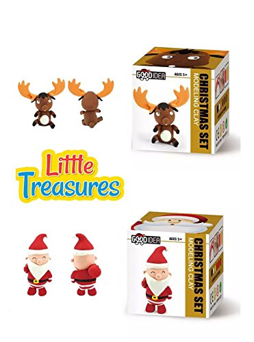 Christmas Clay - Set of 2 Air-Drying Clays play-set create Santa & Reindeer with molding play dough kit - a fun arts and crafts children toy project clean safe & Non-toxic