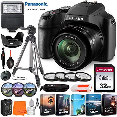Panasonic Lumix DC-FZ80 Digital Camera w/All-in-one Professional Bundle incl. Slave Flash, 32GB Memory Card, Tripod, Filter & Macro Kits, Digital Editing Software Pack, Lens Hood, Cleaning Kit & More