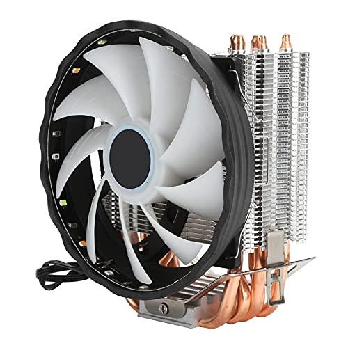 Enfriador de CPU, 3PIN RGB 6 Tubos de calor Ventilador doble Disipador de calor Mini Enfriador de computadora Disipación de calor eficiente Enfriador de aire de CPU Ventilador de CPU para Intel/AMD
